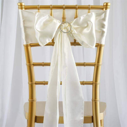 Satin Chair Sash | Ivory | Event Decoration Supplies | 5pcs | 6 x 106""