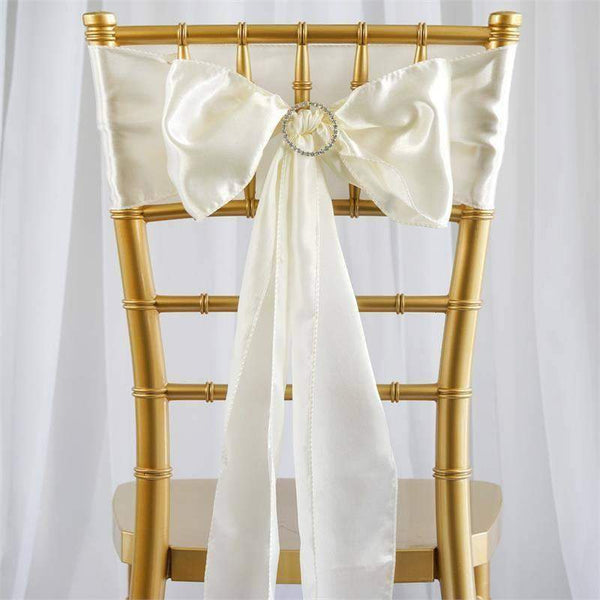 "5 pack - 6""x106"" Ivory Satin Chair Sashes"