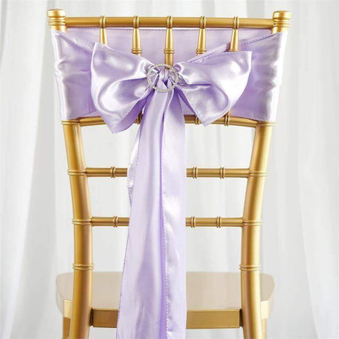 "5 pack - 6""x106"" Lavender Satin Chair Sashes"