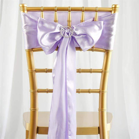 5 pcs lavender satin chair sashes tie bows catering wedding party