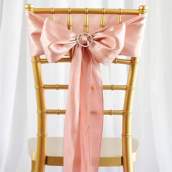 "5 pack - 6""x106"" Dusty Rose Satin Chair Sashes"