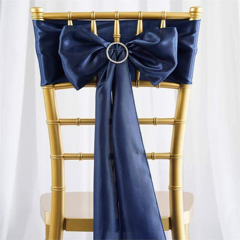 "5 pack - 6""x106"" Navy Blue Satin Chair Sashes"