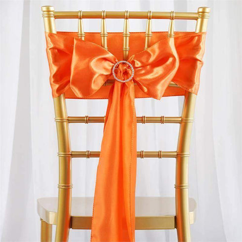 "5 pack | 6""x106"" Orange Satin Chair Sash"