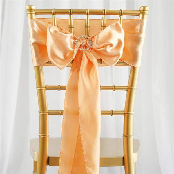 "5 pack - 6""x106"" Peach Satin Chair Sashes"