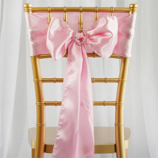 "5 pack - 6""x106"" Pink Satin Chair Sashes"