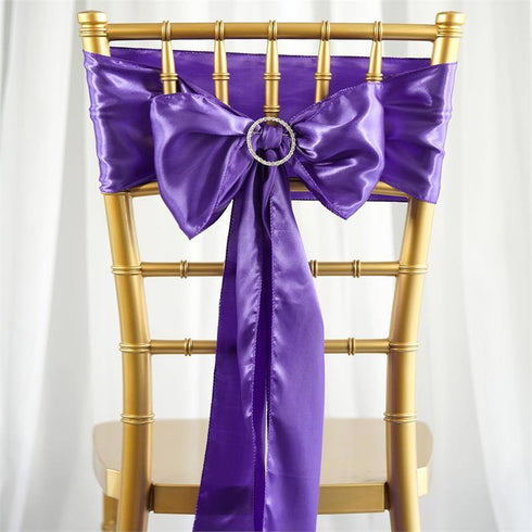 5pc x Satin Purple Chair Sash