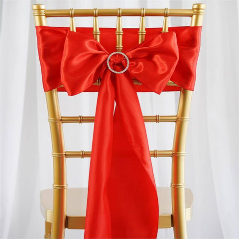 Satin Chair Sash | Red | Event Decoration Supplies | 5pcs | 6 x 106""