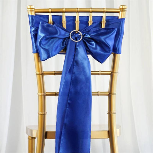 "5 pack - 6""x106"" Royal Blue Satin Chair Sashes"