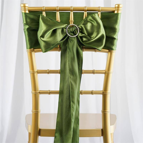 "5 pack - 6""x106"" Moss Green Satin Chair Sashes"