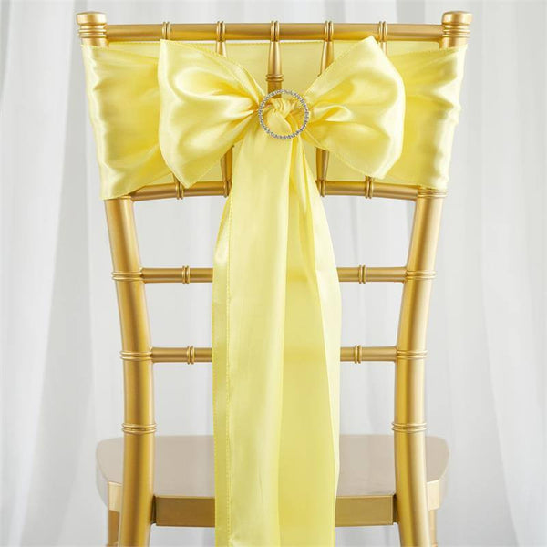 "5 pack - 6""x106"" Yellow Satin Chair Sashes"