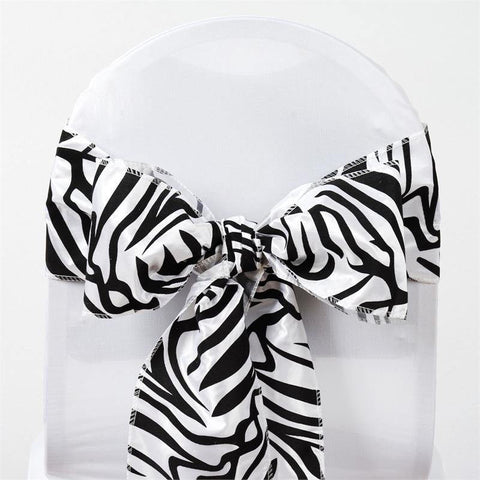 5pc x Zebra Safari Chair Sash - Black / White