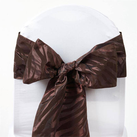 5pc x Zebra Safari Chair Sash - Chocolate / Chocolate