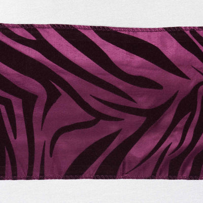"6x108"" Eggplant Taffeta Zebra Print Chair Sashes 