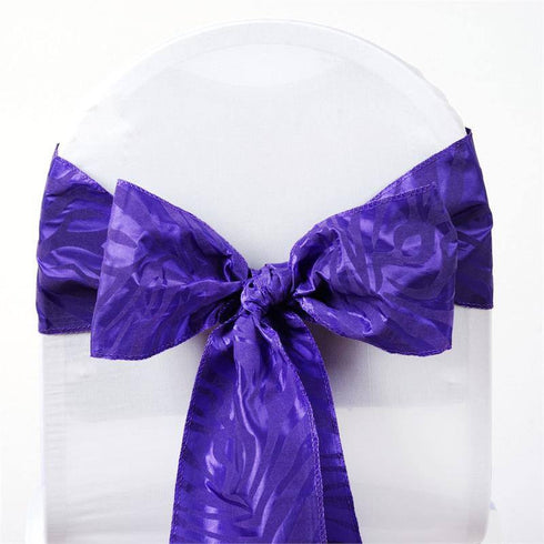 "5 pack | 6""x108"" Purple / Purple Taffeta Zebra Print Chair Sash"