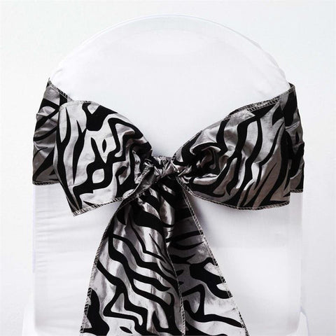 5pc x Zebra Safari Chair Sash - Silver / Black