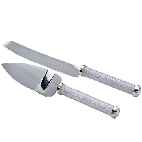 Stainless Steel Knife & Server Set With Clear Acrylic Crystal Handle