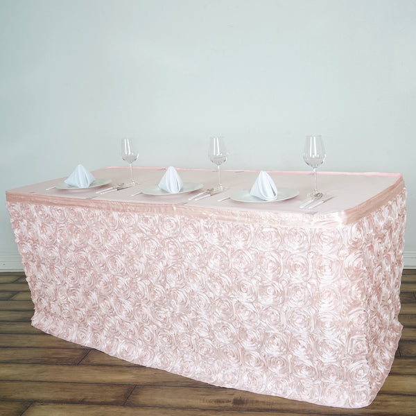 21FT Rose Gold | Blush Rosette Table Skirt