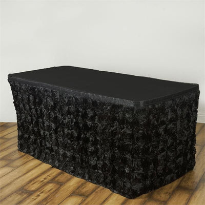 17Ft Wonderland Rosette Table Skirt - Black