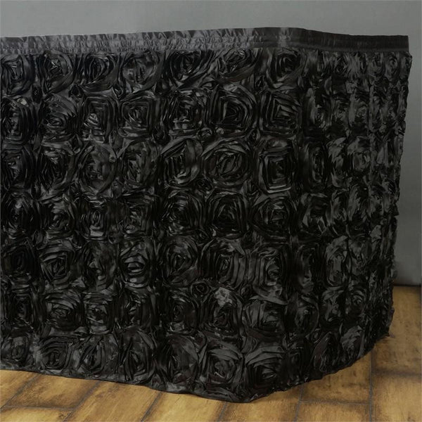 21FT Black Rosette Table Skirt