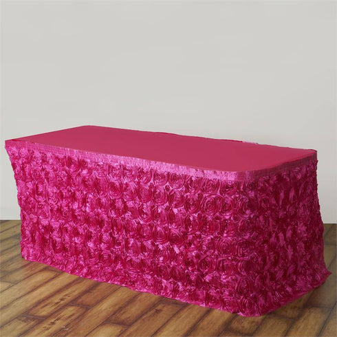 17Ft Wonderland Rosette Table Skirt - Fushia