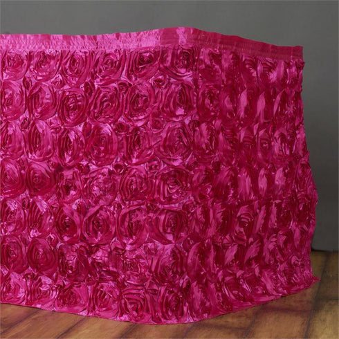 21Ft Wonderland Rosette Table Skirt - Fushia