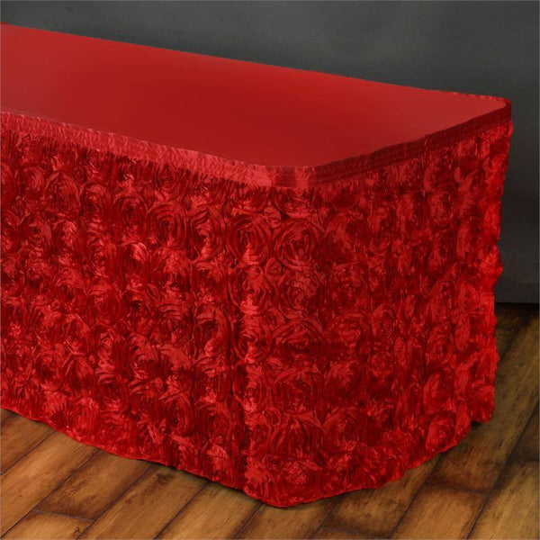 14FT Red Rosette Table Skirt
