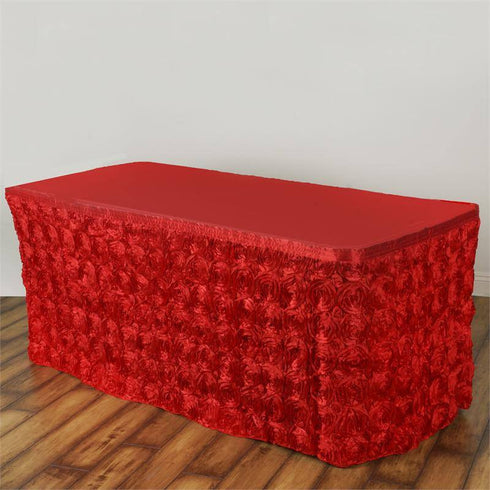 17Ft Wonderland Rosette Table Skirt - Red