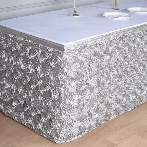 14 FT Silver 3D Rosette Satin Table Skirt