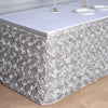 17 FT Silver 3D Rosette Satin Table Skirt