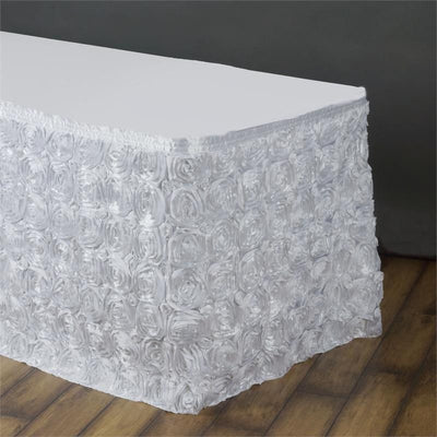 14Ft Wonderland Rosette Table Skirt - White
