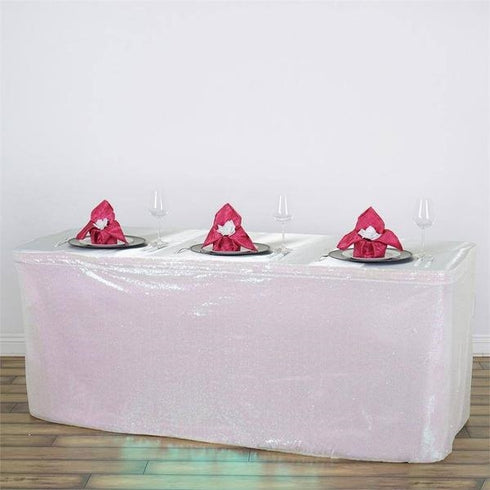 21FT Glitzy Sequin Table Skirts - White
