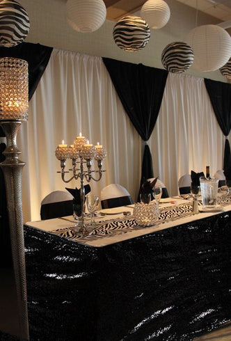 14FT Glitzy Sequin Table Skirts - Black