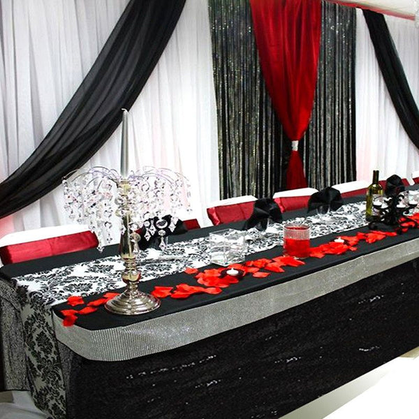 21FT Black Glitzy Sequin Table Skirts