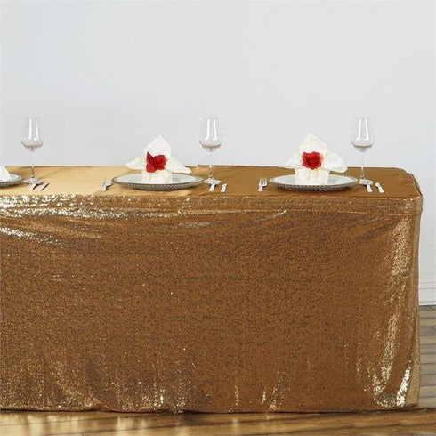 17FT Glitzy Sequin Table Skirts - Gold