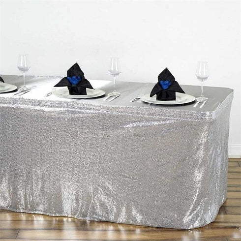 14FT  Glitzy Sequin Table Skirts - Silver