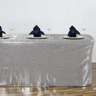 17FT  Glitzy Sequin Table Skirts - Silver