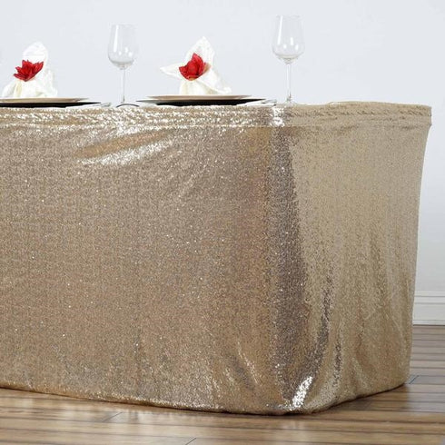 14FT Glitzy Sequin Table Skirts - Champagne