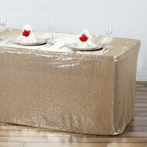 17FT Glitzy Sequin Table Skirts - Champagne