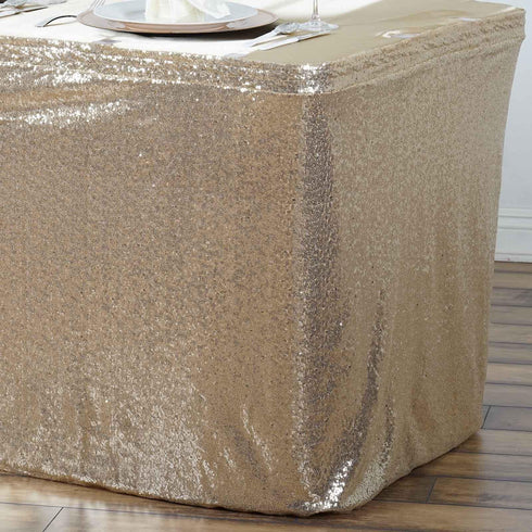 Wholesale Wedding Party Glitzy Sequin Table Skirt - Champagne - 21FT