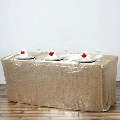 21FT Glitzy Sequin Table Skirts - Champagne