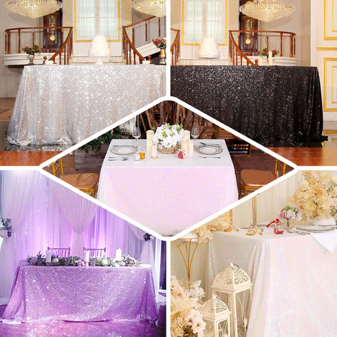14FT Silver Glitzy Sequin Table Skirts