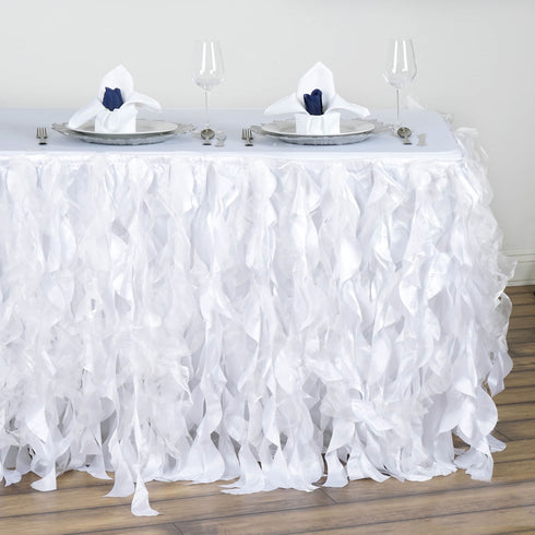 14FT White Curly Willow Taffeta Table Skirt