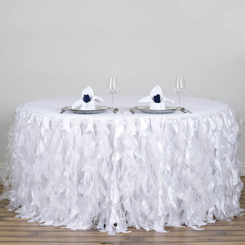 17ft Enchanting Curly Willow Taffeta Table Skirt - White