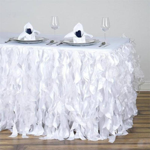 17FT Curly Willow Taffeta Table Skirt - White