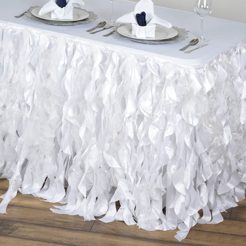 17FT White Curly Willow Taffeta Table Skirt