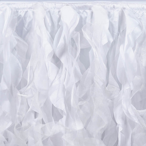 21ft Enchanting Curly Willow Taffeta Table Skirt - White
