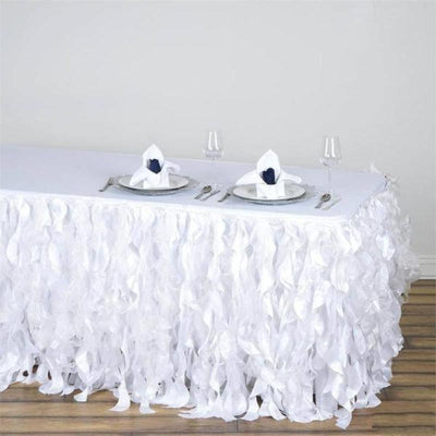 21FT Curly Willow Taffeta Table Skirt - White