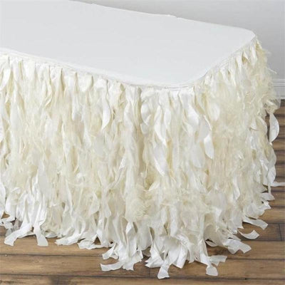 14FT Ivory Curly Willow Taffeta Table Skirt