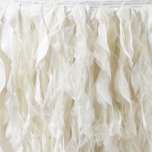 17ft Enchanting Curly Willow Taffeta Table Skirt - Ivory