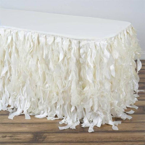 17FT Curly Willow Taffeta Table Skirt - Ivory